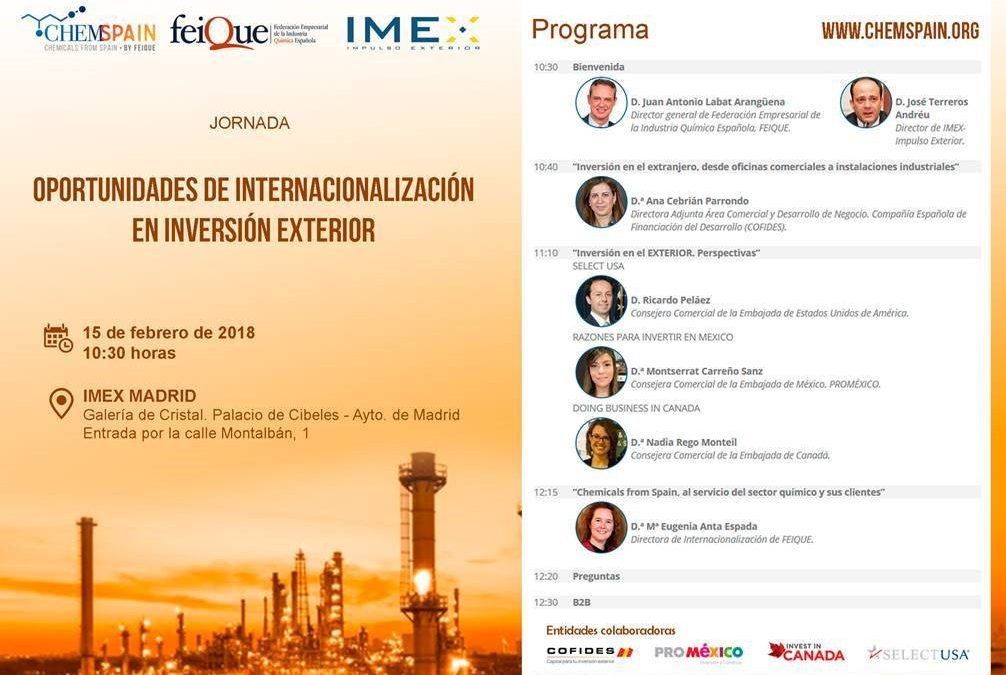 Oportunidades de Internacionalización en inversión exterior: Estados Unidos de América, Canadá y México. Jueves 15 Febrero en IMEX Madrid