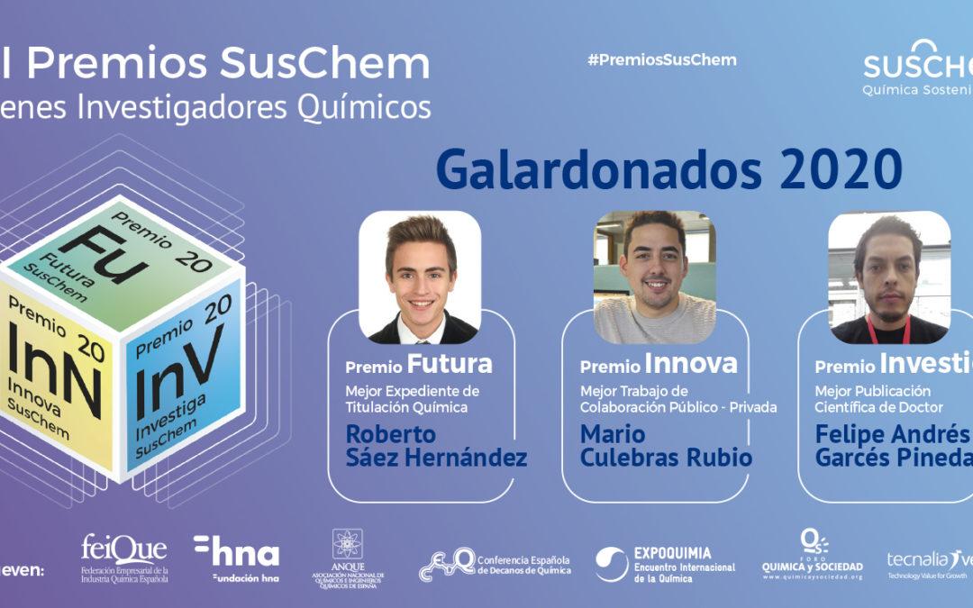 SusChem-España falla la XII Edición de sus Premios SusChem-Jóvenes Investigadores Químicos